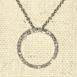 Jewelry - 14k W Gold Open Circle of Life Diamond Necklace